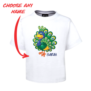 PRETTY PEACOCK KIDS T-SHIRT PERSONALISED WITH NAME TEE FDG01-1KT-22010