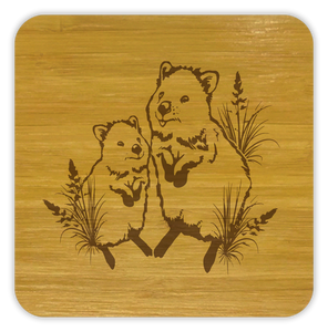 QUOKKA Bamboo Coasters Eco Friendly Set Of 4 Drink Coasters in Box