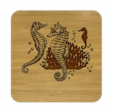 SEAHORSES Bamboo Coasters Eco Friendly Set Of 4 Drink Coasters in Box - fair-dinkum-gifts