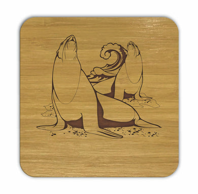 SEALIONS Bamboo Coasters Eco Friendly Set Of 4 Drink Coasters in Box - fair-dinkum-gifts