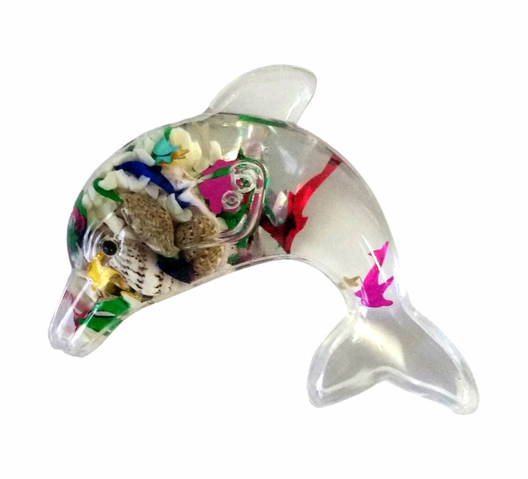 Dolphin Shaped Magnet Small with Floating Seashells and Glitter Inside - fair-dinkum-gifts
