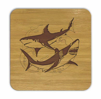 SHARKS Bamboo Coasters Eco Friendly Set Of 4 Drink Coasters in Box - fair-dinkum-gifts