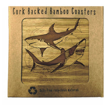 Load image into Gallery viewer, SHARKS Bamboo Coasters Eco Friendly Set Of 4 Drink Coasters in Box - fair-dinkum-gifts