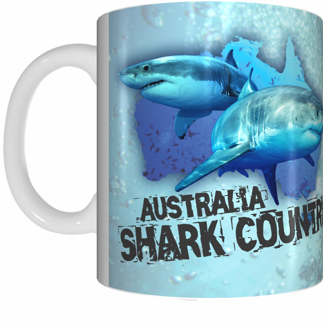 SHARK COUNTRY Mug Cup 300ml Gift Aussie Australia Animal Native Fish Sea Ocean Sharks - fair-dinkum-gifts