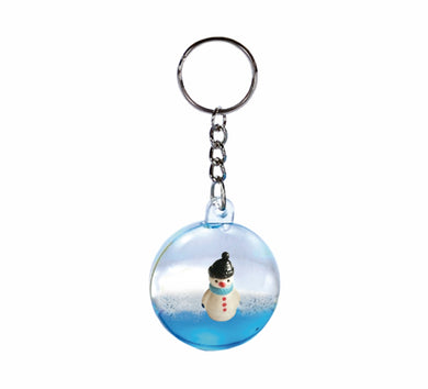 Oily Snowman Mini Waterball Key Ring Aussie Gifts Souvenirs Coloured Liquid Floater Keyrings - fair-dinkum-gifts