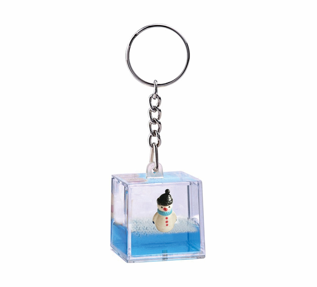 Oily Snowman Mini Water Cube Key Ring Aussie Gifts Coloured Liquid Floater Keyrings - fair-dinkum-gifts