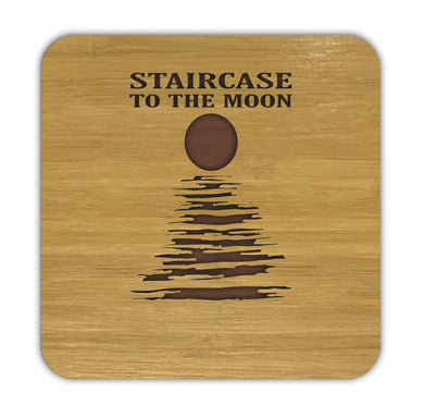 STAIRCASE TO THE MOON Bamboo Coasters Eco Friendly Set Of 4 Drink Coasters in Box - fair-dinkum-gifts