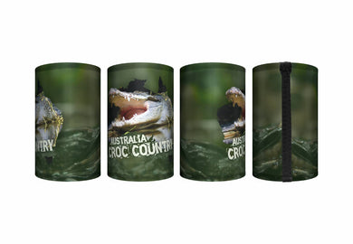 Croc Country Stubby Holder Pack of 4 Crocodile Drink Cooler Can Holder Neoprene Australia Aussie Green or Pink Croc Products - fair-dinkum-gifts