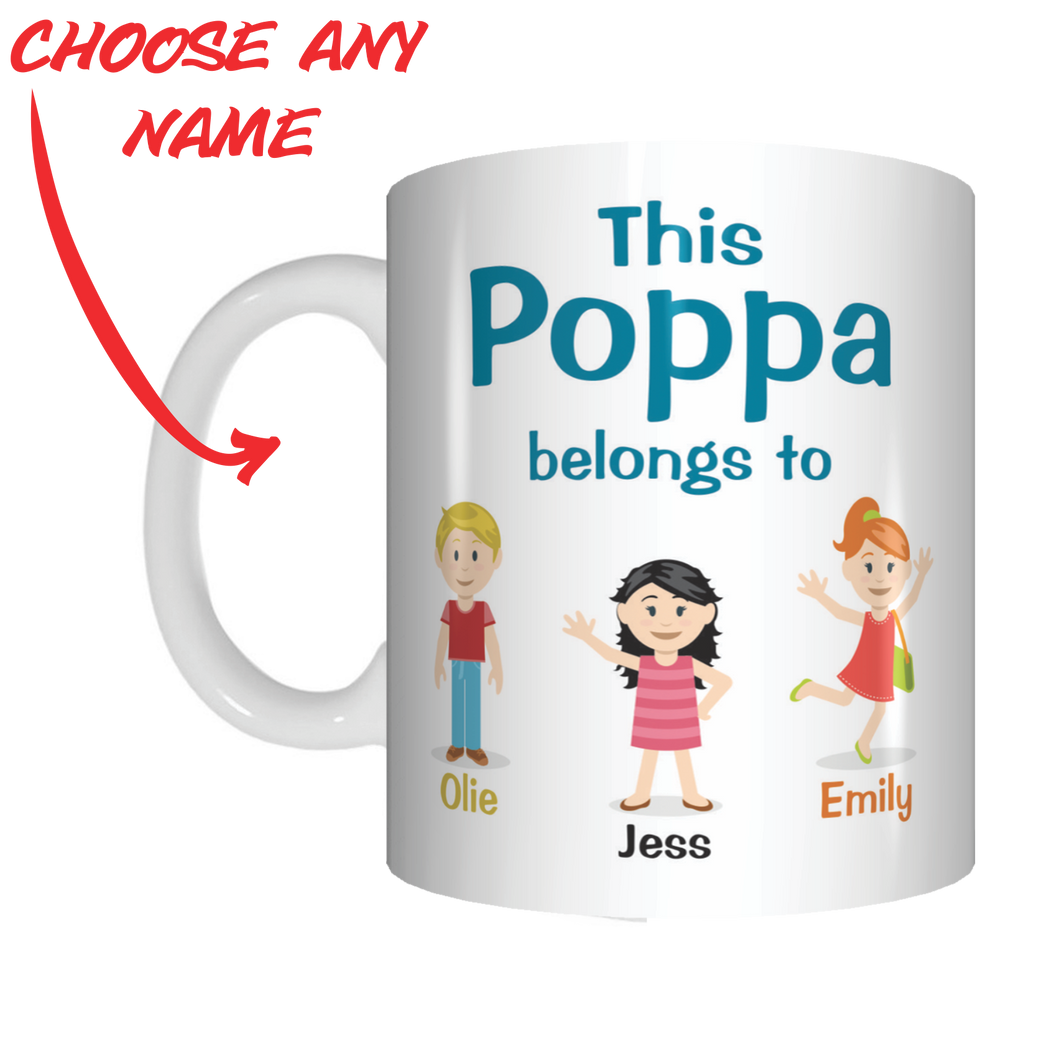 This Pop Belongs To Personalised Name Mug Gift For Grandpa Grandfather Poppa Poppy Nonno Pappou FDG07-92-26010