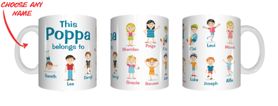 Multiple Name Version Of This Pop Belongs To Personalised Name Mug Gift For Grandpa Grandfather Poppa Poppy Nonno Pappou FDG07-92-26011 - fair-dinkum-gifts