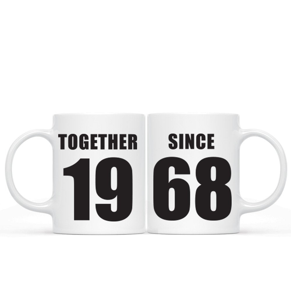 Together Since 1968 Any Year Personalised Anniversary Mugs Double Set Coffee Mugs Anniversary Gift - fair-dinkum-gifts