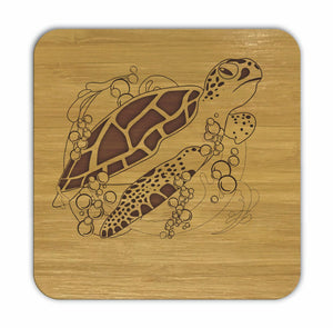 TURTLE Bamboo Coasters Eco Friendly Set Of 4 Drink Coasters in Box - fair-dinkum-gifts