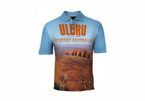 Uluru Sublimated Polo Shirt Ayers Rock  Dingo Australia Aussie Great Outdoors Outback