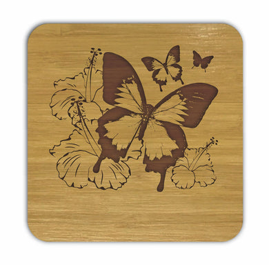 ULYSSES BUTTERFLY AND HIBISCUS Bamboo Coasters Eco Friendly Set Of 4 Drink Coasters in Box - fair-dinkum-gifts