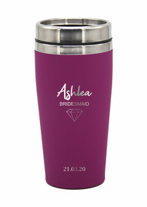 Personalised Bridesmaids Groomsman Gifts Wedding Travel Mug LARGE 475ml Gift Cup Choose Your Colour - fair-dinkum-gifts