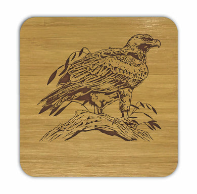WEDGETAIL EAGLE Bamboo Coasters Eco Friendly Set Of 4 Drink Coasters in Box - fair-dinkum-gifts
