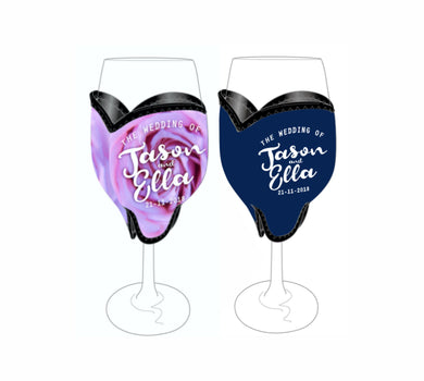 Bulk Customised Wine Glass Coolers 100 pieces Wedding Favours Gifts Drink Holders Name Date - fair-dinkum-gifts
