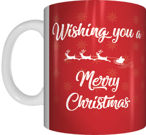 Wishing You A Merry Christmas Red Or White/Gold Mug Xmas Reindeer Coffee Mug Gift