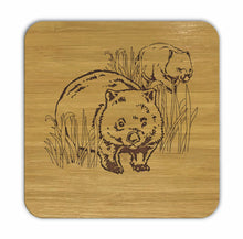 Load image into Gallery viewer, WOMBATS Bamboo Coasters Eco Friendly Set Of 4 Drink Coasters in Box - fair-dinkum-gifts