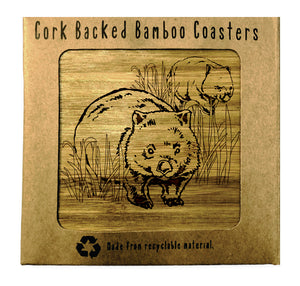 WOMBATS Bamboo Coasters Eco Friendly Set Of 4 Drink Coasters in Box - fair-dinkum-gifts