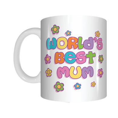 World's Best Mum Coffee Mug Mothers Day GIFT Colourful Flowers