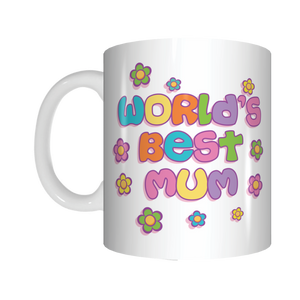 World's Best Mum Coffee Mug Mothers Day Birthday Christmas GIFT Colourful Flowers
