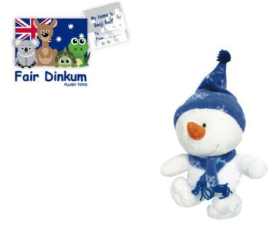 Benji Boof Snowman Plush Toy 20cm With Scarf