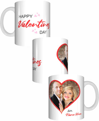 Photo Love Heart Happy Valentines Day Personalised Name Coffee Mug Gift Romantic Novelty Present