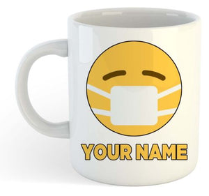 Quarantine Mug Personalised Name Coffee Mug Mask Emoji Office Gift