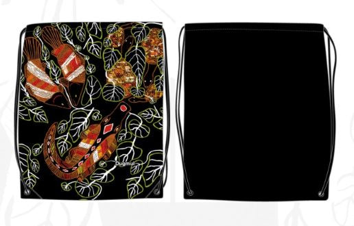 Nylon Drawstring BackPack Bag Graham Kenyon Designs Aboriginal Indigenous Art - fair-dinkum-gifts