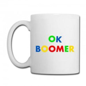 OK BOOMER COLOURED LETTERS WHITE MUG 325ML FUNNY COFFEE MUG FOR ADULTS MUMS DADS