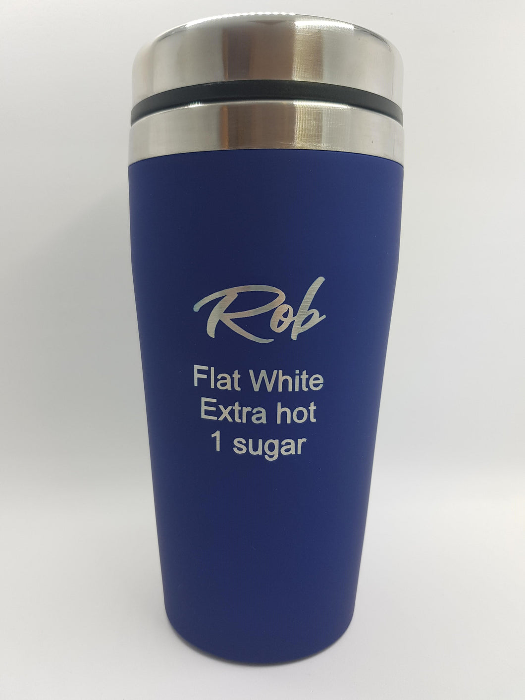 Coffee Order Travel Mug Personalised 475ml Rubber Paint Coated Choose Your Colour