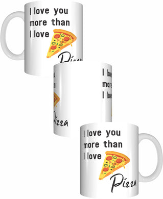 I Love You More Than I Love Pizza Coffee Mug Gift Romantic Novelty Present Valentines Day