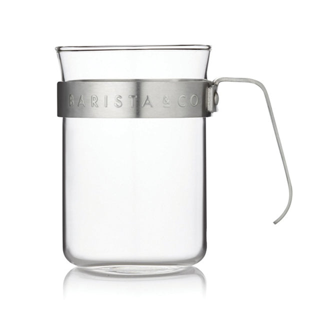 Glass Coffee Cups with Electric Steel Metal Handle (Set of Two)