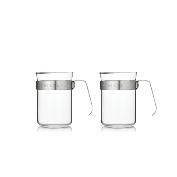 Glass Coffee Cups with Metal Handle (Set of Two) - Electric Steel