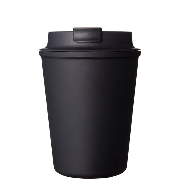 Rivers Wallmug Sleek - Black Reusable Travel Coffee Cup (Cappuccino Size - 350ML)