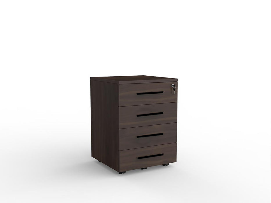 Cubit Black Detail Locking 4 Draw Mobile - Workspace Furniture Home and Office Drawers