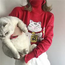 "Load image into Gallery viewer, ""LUCKY CAT"" TURTLENECK"