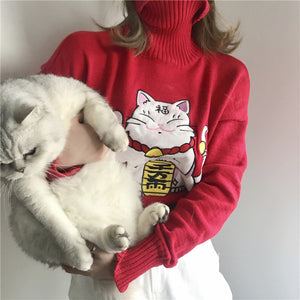 """LUCKY CAT"" TURTLENECK"