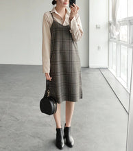"Load image into Gallery viewer, ""SIMPLE"" BROWN PLAID DRESS"