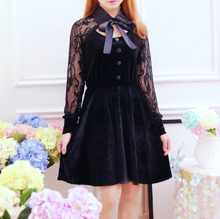 "Load image into Gallery viewer, BLACK LACE ""BALL"" DRESS"
