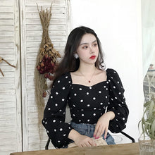"Load image into Gallery viewer, ""NIGHT"" POLKA DOT BLOUSE"