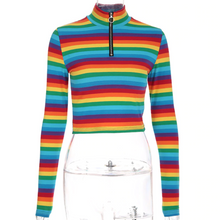 Load image into Gallery viewer, RAINBOW CROP TOP TURTLENECK