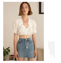 "Load image into Gallery viewer, ""SUMMER"" PUFF SLEEVE CROP TOP"