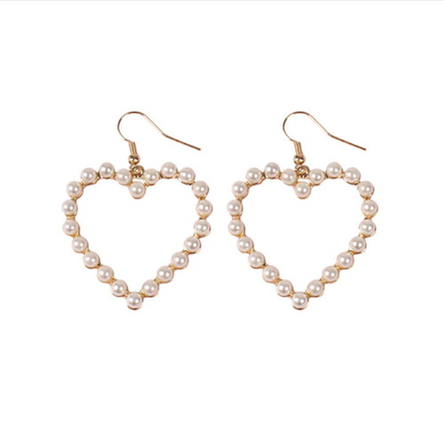 PEARL HEART EARRINGS (2 DESIGNS)
