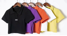 "Load image into Gallery viewer, ""HIDE"" COLLAR CROP TOP (5 COLORS)"