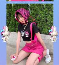 "Load image into Gallery viewer, ""MY MELODY x KUROMI"" CROP TOP (3 COLORS)"
