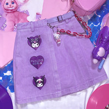 "Load image into Gallery viewer, ""KUROMI LOVE"" PURPLE SKIRT"