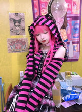"Load image into Gallery viewer, ""PINK GOTH BUNNY"" STITCHED JACKET"
