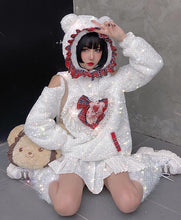 "Load image into Gallery viewer, ""VALENTINE'S WHITE BEAR"" HOODIE"